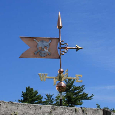 Skull and Crossbones Banner Weathervane  right side view on blue sky background.
