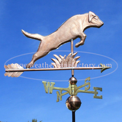 Jumping Labrador Weathervane right side view on blue sky background