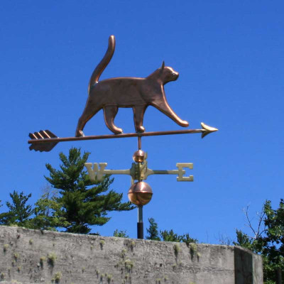 Nice Cat Weathervane shown with tail up and walking right side view with blue sky background