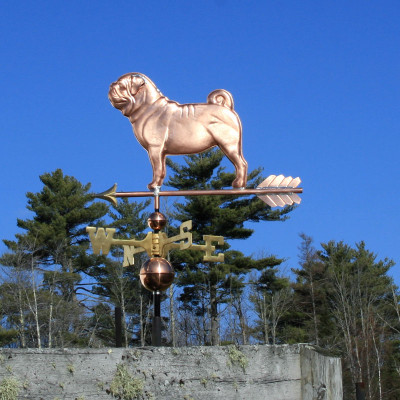 Pug Weathervane left side view on blue sky background