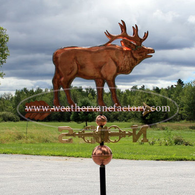 Elk Weathervane right side view on stormy background