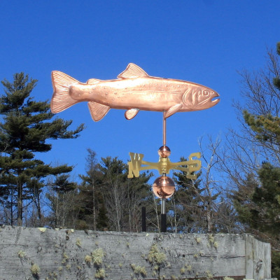Trout Weathervane right side view on blue sky background