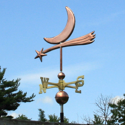 Shooting Star and Moon Weathervane left side view on blue sky side background
