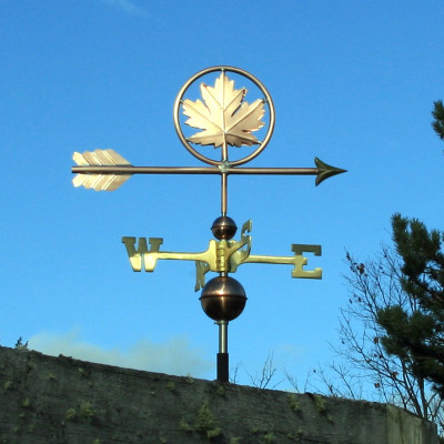 Maple Leaf Weathervane right side view on blue sky background