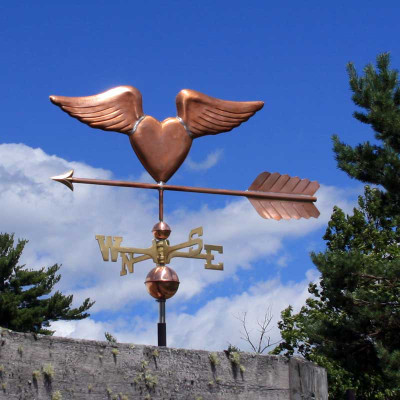 Heart with Wings Weathervane left side view on blue cloudy sky background