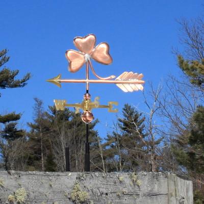 Three Leaf Clover / Shamrock Weatherane on blue sky background left side view