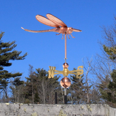 Dragonfly Weathervane right side view with Blue Sky Background