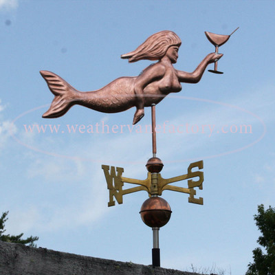 Mermaid Weathervane right side view on blue sky background