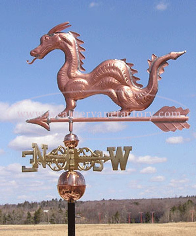 Dragon Weathervane left side view on cloudy sky background