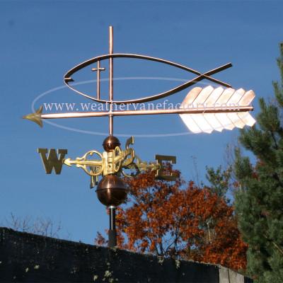 jesus fish weathervane left side view on blue sky background