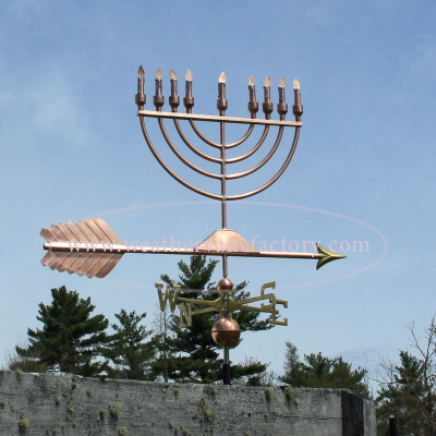 Large Menorah Weathervane right side view on blue sky background