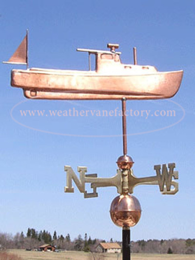 lobster fishing boat weathervane right side view on blue sky background