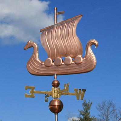 Viking Ship/Sailboat Weathervane left side view on blue sky background