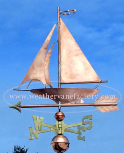 Sailboat Weathervane left side view on blue sky background