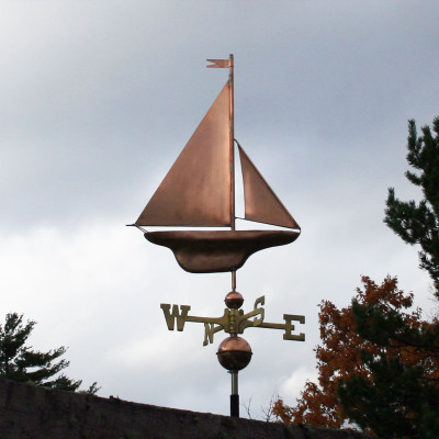 Copper S Class Yacht Sailboat weathervane right side view with stormy background
