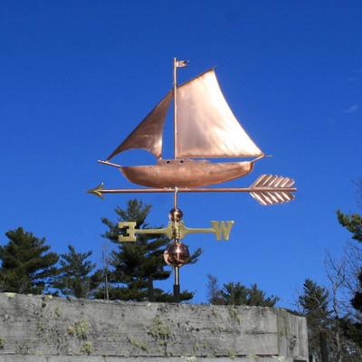 sloop sailboat weathervane left side view on blue sky background