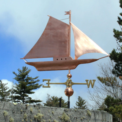 Large Friendship Sloop Weathervane right side view on cloudy background