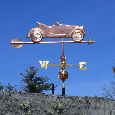 Old Car Weathervane right side view on blue sky background