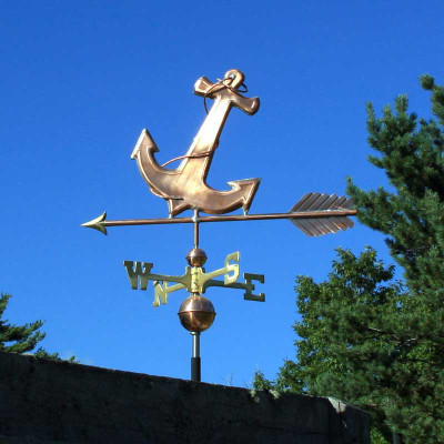 Anchor Weathervane left side view on blue sky background