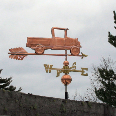 Pickup Truck Weathervane with windows rolled down, right side view on stormy background