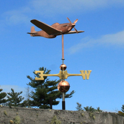 P51 Mustang Fighter Airplane Weathervane right  angle side view on blue sky background