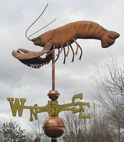 Lobster Weathervane left side view on cloudy sky background