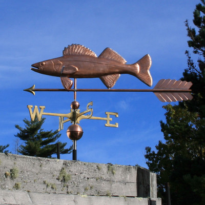 Large Walleye with Arrow Weathervane left side view on blue sky background