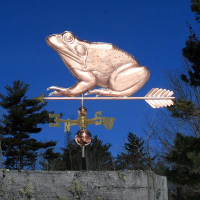 frog weathervane left side view on blue sky background