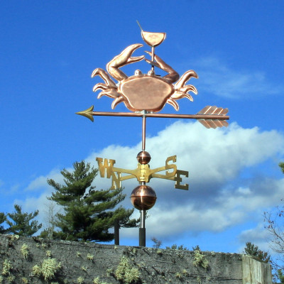 Crab Weathervane holding a Martini Glass Left Side View on Cloudy Background