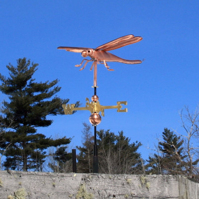 Dragonfly Weathervane left angle view on blue sky background