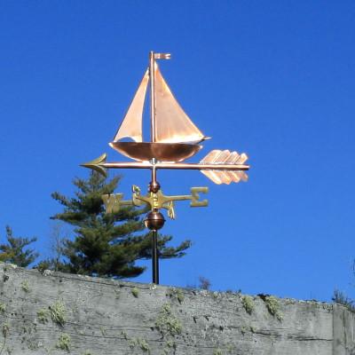 Small Copper Sailboat Weathervane