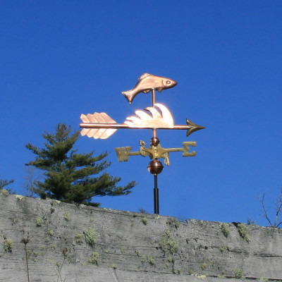 Fish Weathervane side view on blue sky background