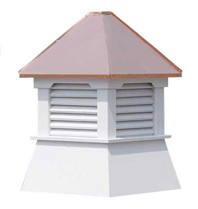 Orrington Louvered Cupola - White PVC with Copper Top