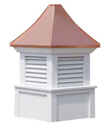 Gardner Louvered Cupola - White PVC with Copper Top