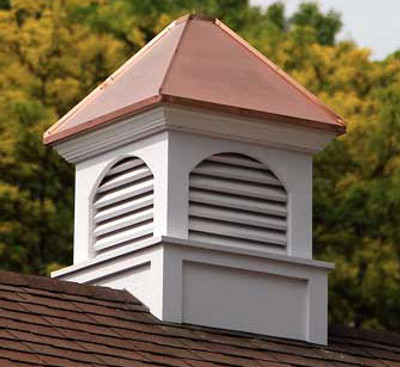 Tremont Louvered Cupola - White with Copper Roof