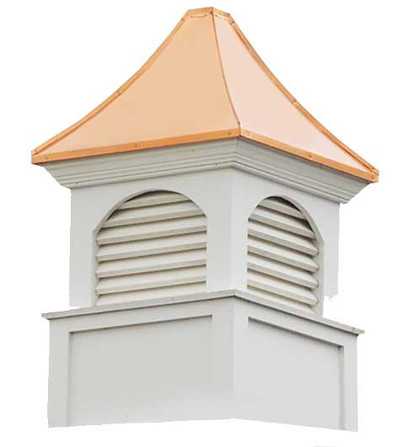 Sumner Louvered Cupola in White PVC with Copper Roof