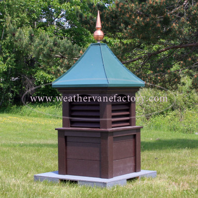 Deering Louvered Color Cupola - dark chocolate color with evergreen roof metal color