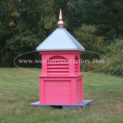 Conway Louvered Color Cupola shown in pink with light green patina roof