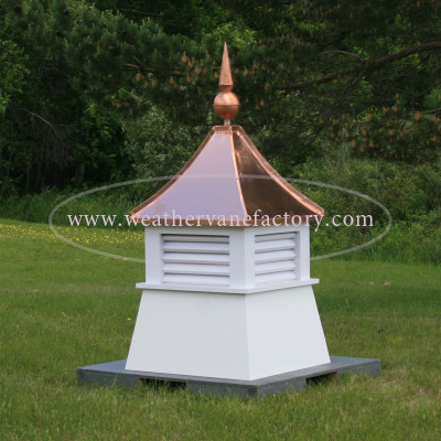 Caribou Louvered Shed Cupola with Copper Finial in PVC