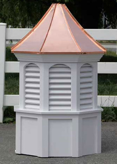 Byron Arched Octagon Louvered Cupola with Concave Roof