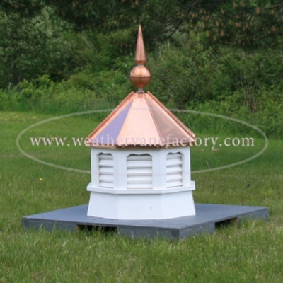 Bailey Gazebo Octagon Louvered Cupola with Finial in PVC
