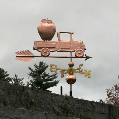 Pickup Truck with Apple Weathervane right side view on stormy background