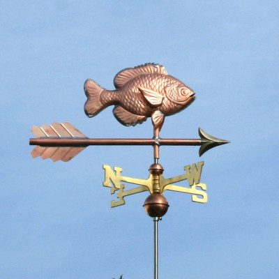 Sunfish Weathervane right side view on light blue sky background.