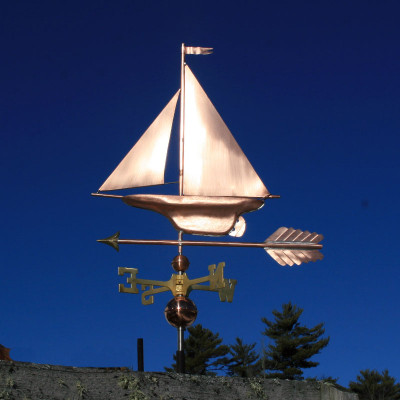 Yacht/Sailboat Weathervane left side view on blue sky background.