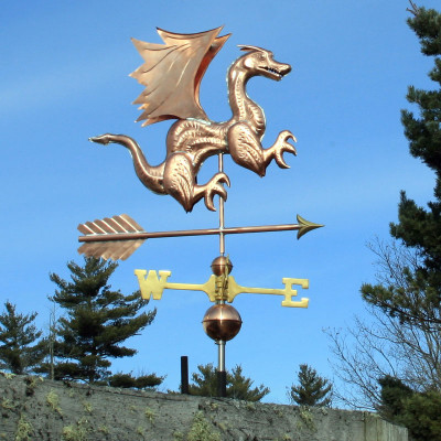 Dragon Weathervane right front view on blue sky background