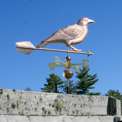 Crow/Raven Weathervane on Blue Sky Background