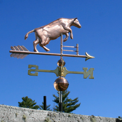 Jumping Cow Weathervane over a Fence