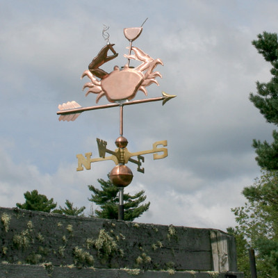 Crab Smoking a Cigarette and Drinking a Martini Weathervane