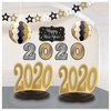 2020 New Years Eve Graduation Room Decorating Kit 10 Pc Black Gold Silver
