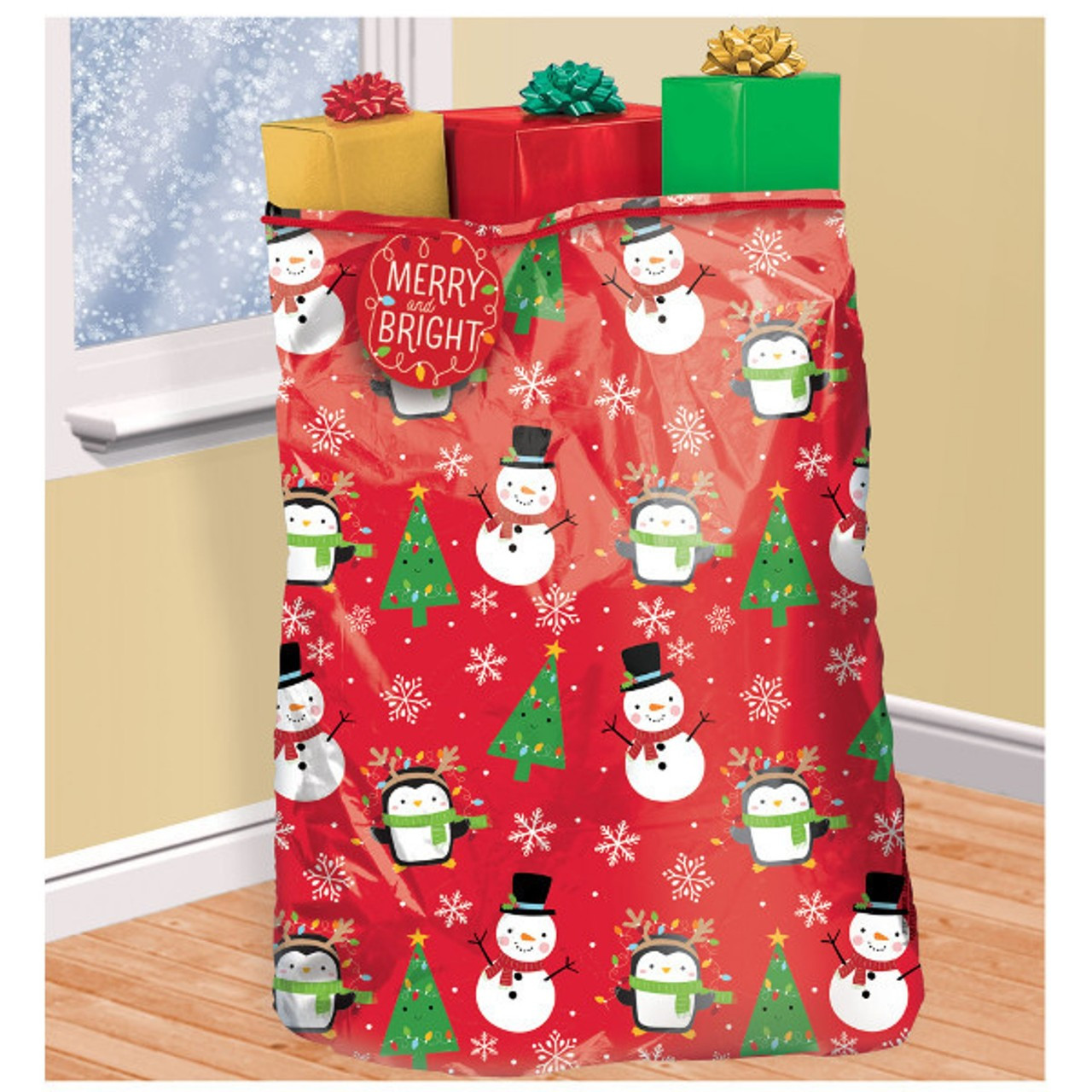Christmas Gift Bags.Snowy Friends Super Giant Christmas Gift Bag Tag Tie 44 X 56 Plastic Sack